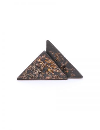 Galaxy Triangle Stud Earrings - Oxidised