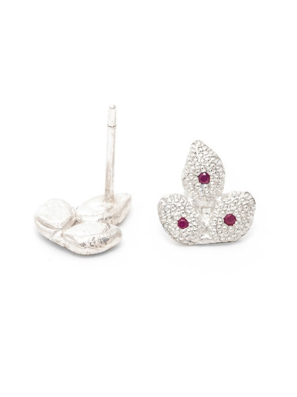 Ruby Leaf Stud Earrings