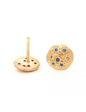 Little Stud Earrings - Yellow Gold & Sapphire