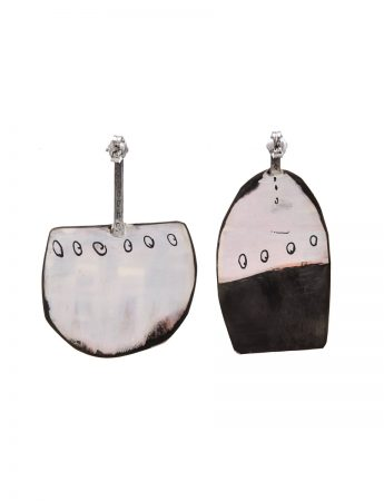 Medium Apron Earrings - Black & White