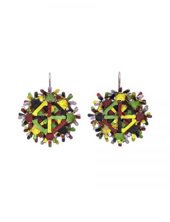 Nest Earrings - Yellow, Green & Burgundy