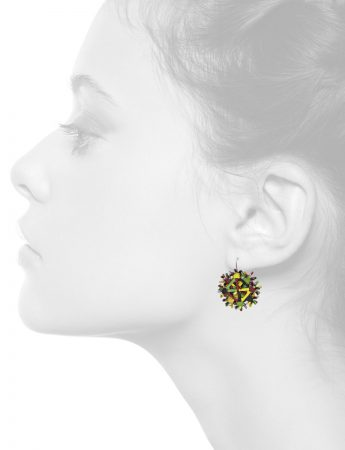 Nest Earrings – Yellow, Green & Burgundy