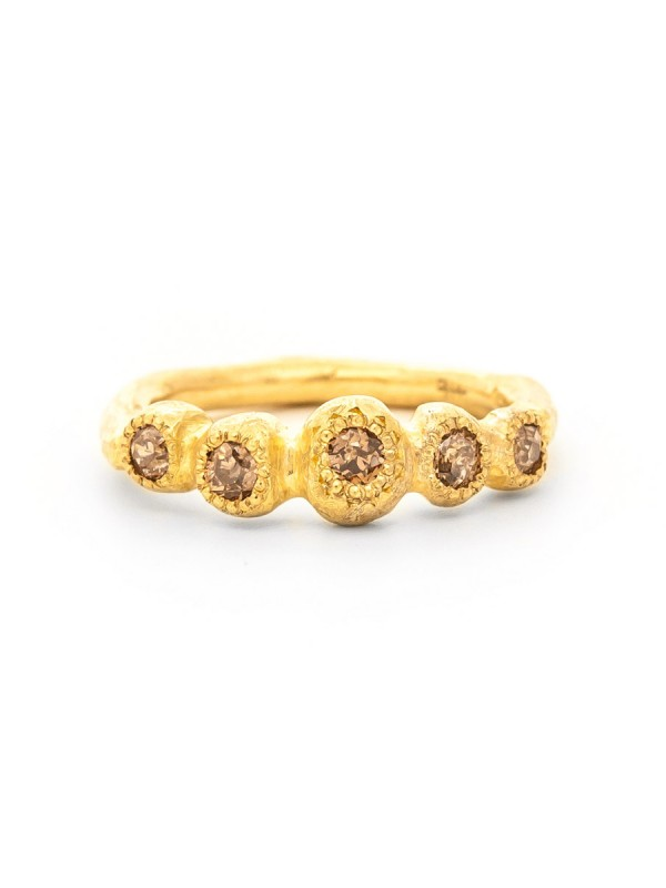 Petite Trousseau Ring – Yellow Gold & Champagne Diamonds