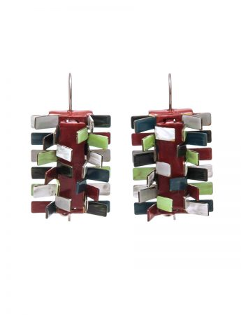 Pine Earrings – Red, Grey, Green