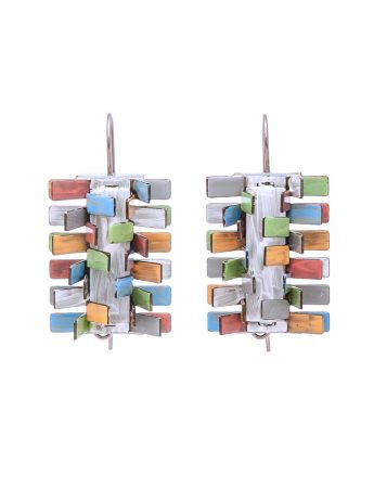 Pine Earrings - Pink, Green, Orange & Blue