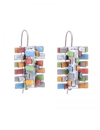 Pine Earrings – Pink, Green, Orange & Blue