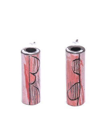 Tube Earrings - Pink & Red