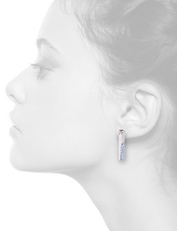Tube Earrings – White & Light Blue