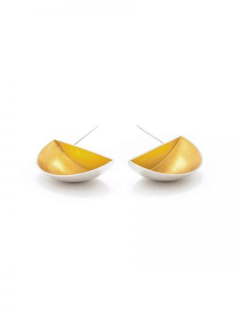 Half Shell Stud Earrings - Silver & Gold