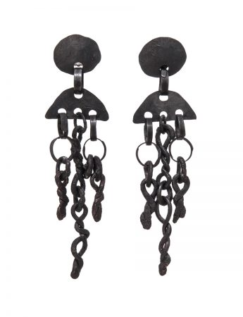 Hephestos Earrings - Oxidised Silver