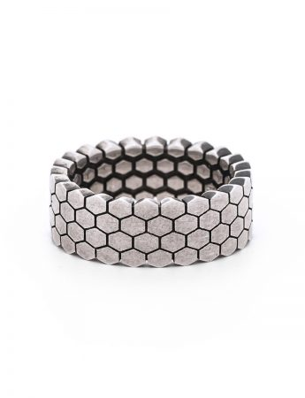 Four Stack Hexagons Ring - Silver