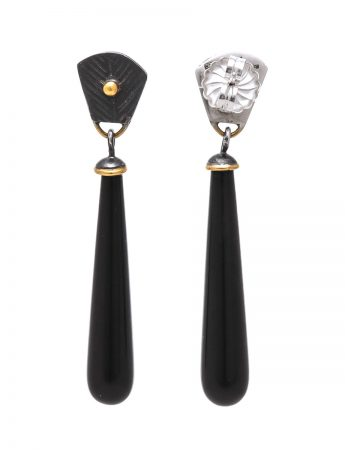 Anubis Earrings - Silver & Onyx