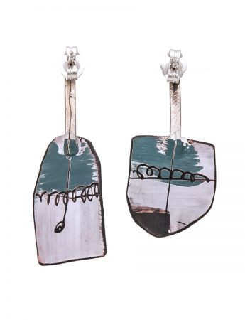 Small Apron Earrings - Teal