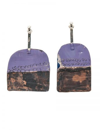 Apron Earrings - Blue & Lilac
