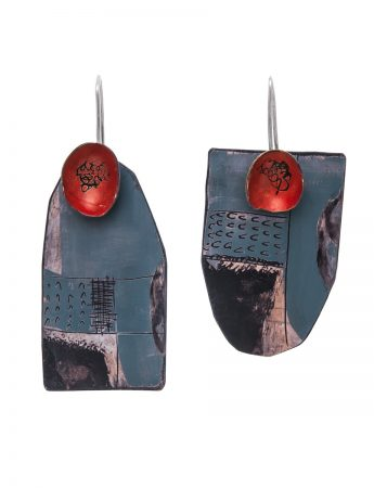 Apron Pocket Earrings - Red & Dark Blue