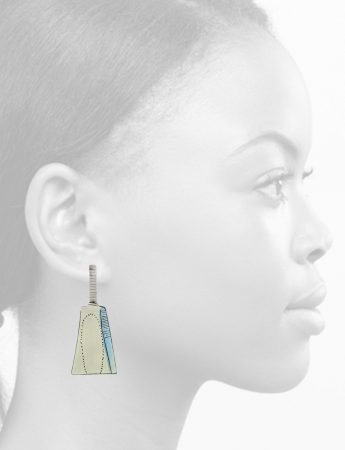 Apron Earrings - Taupe & Blue