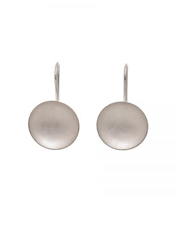 Domed Circle Hook Earrings - Sterling Silver