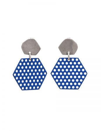 Hexagonal Perforated Earrings - Blue