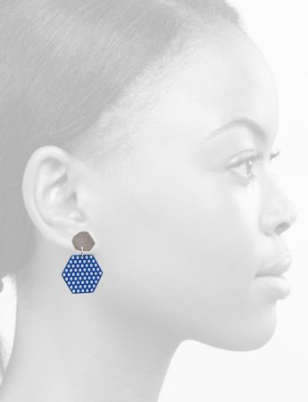 Hexagonal Perforated Earrings – Blue