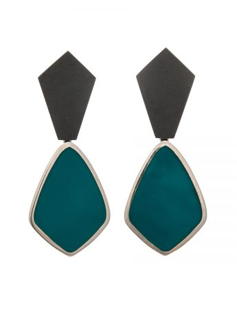 Resin Earrings - Dark Teal