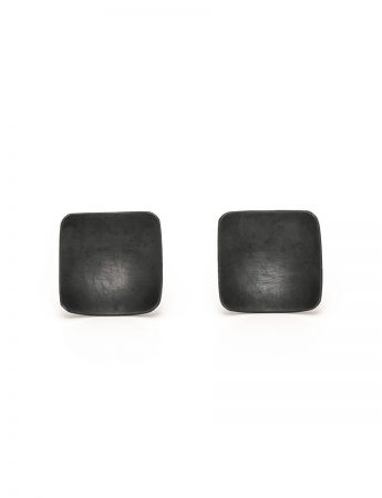 Domed Square Stud Earrings - Black