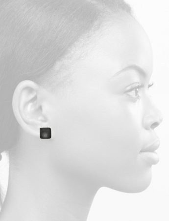 Domed Square Studs – Oxidised Silver