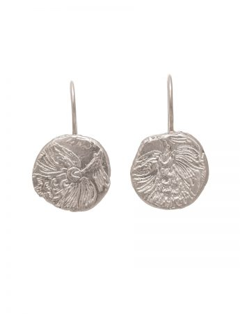 Fragment Round Hook Earrings - Silver