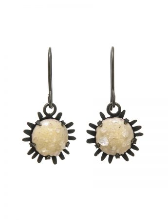 Oxidised Galaxy Hook Earrings - Cream