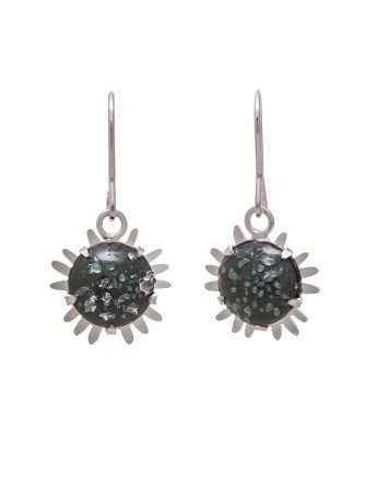 Galaxy Hook Earrings - Dark Grey with Glass Crystals