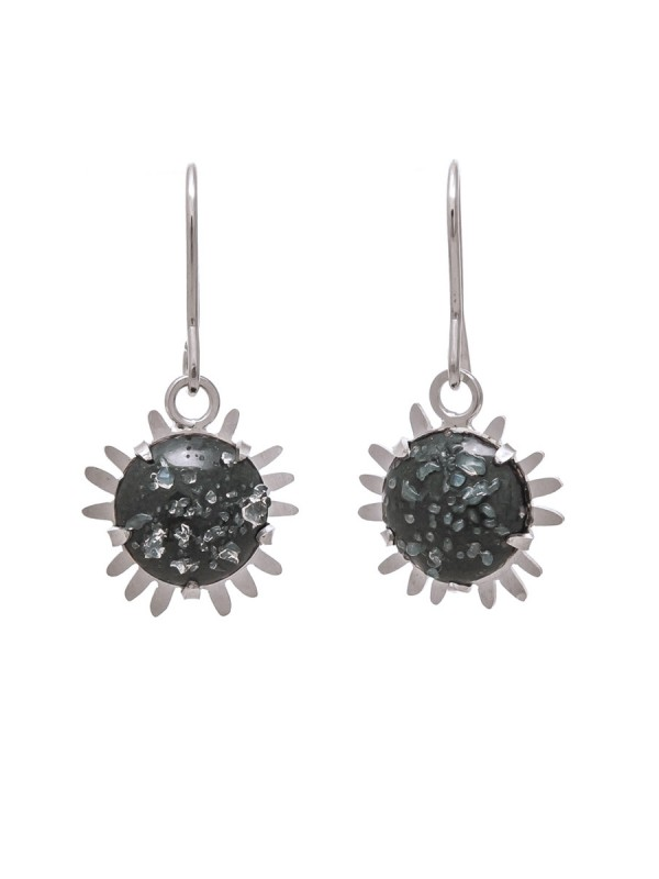 Galaxy Hook Earrings – Dark Grey with Glass Crystals