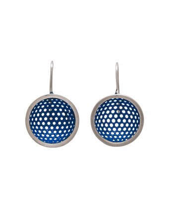 Half Sphere Hook Earrings - Blue