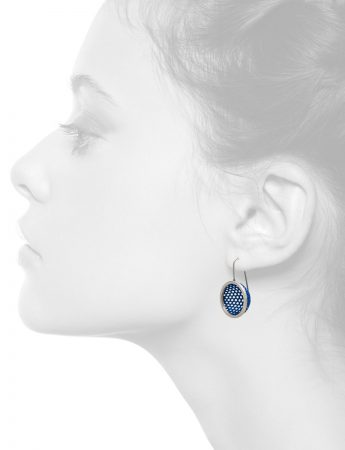 Half Sphere Hook Earrings – Blue