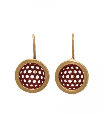 Half Sphere Earrings - Gold & Red