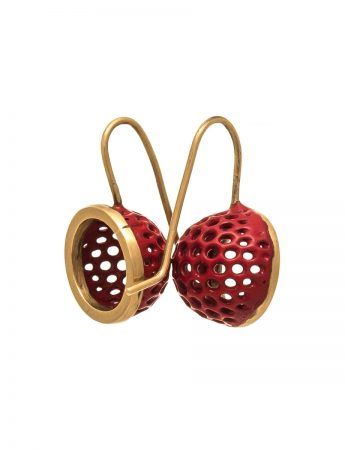Half Sphere Earrings – Gold & Red