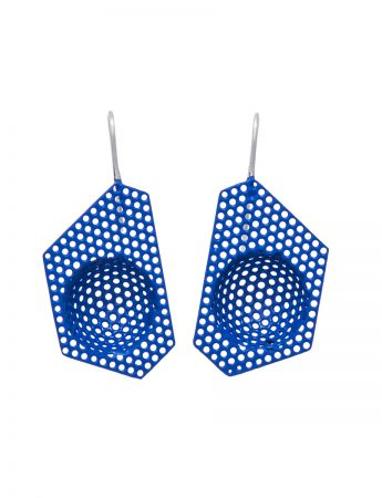 Half Sphere Polygonal Earrings – Blue