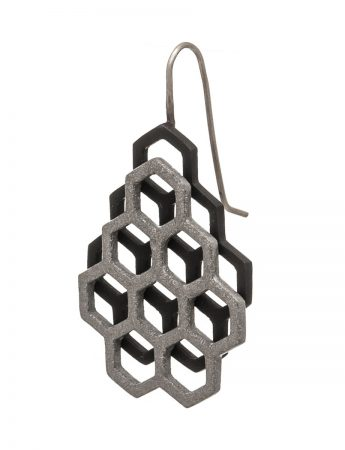 Small Double Honeycomb Earrings - Black & Grey