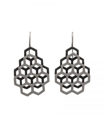 Small Double Honeycomb Earrings – Black & Grey