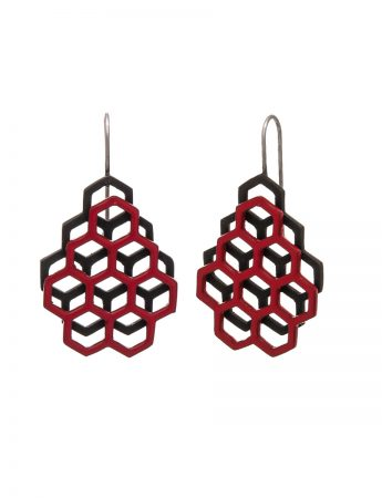 Small Double Honeycomb Earrings - Red & Black