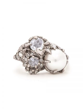 Neptune Ring - Pearl & Diamond