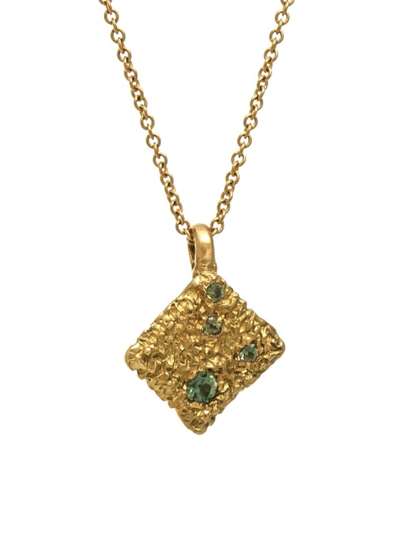 Sapphire Pyramid Amulet Necklace