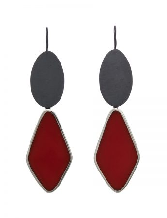 Resin Hook Earrings - Red Diamond