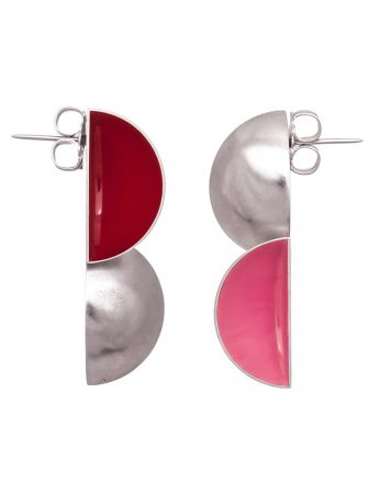 Red & Pink Double Half Shell Earrings