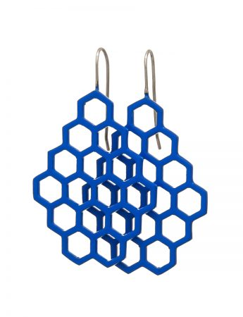 Small Hexagon Earrings – Blue