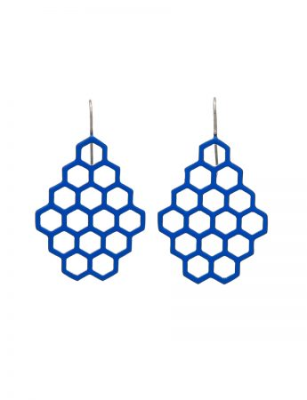 Small Hexagon Earrings - Blue