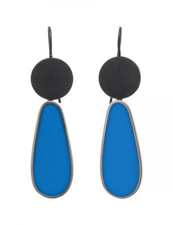 Resin Hook Earrings - Blue Teardrop
