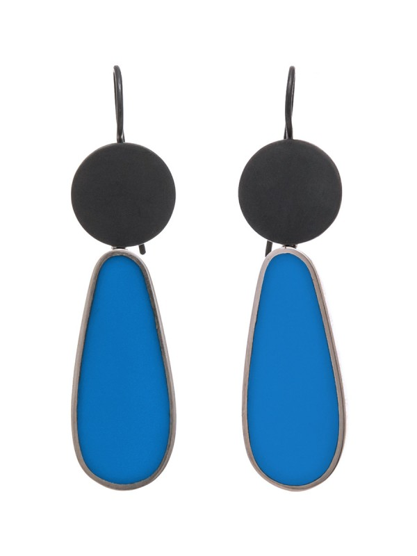 Resin Hook Earrings – Blue Teardrop