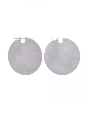 Large U Disc Earrings - Silver