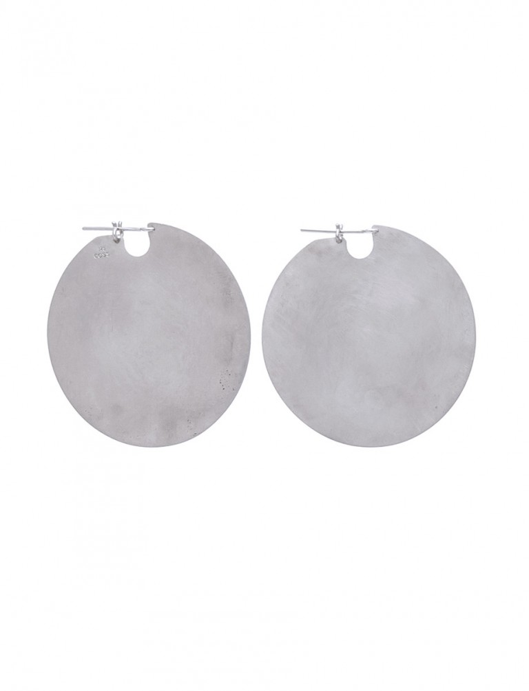 Large U Disc Earrings – Silver