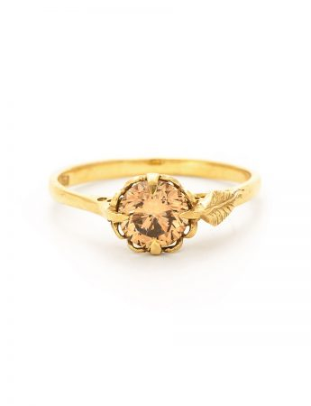 Victorian Solitaire Ring with Leaf