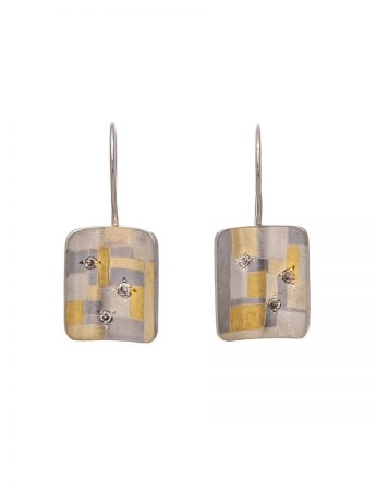 Diamond Shared Terrain Earrings - Rectangular